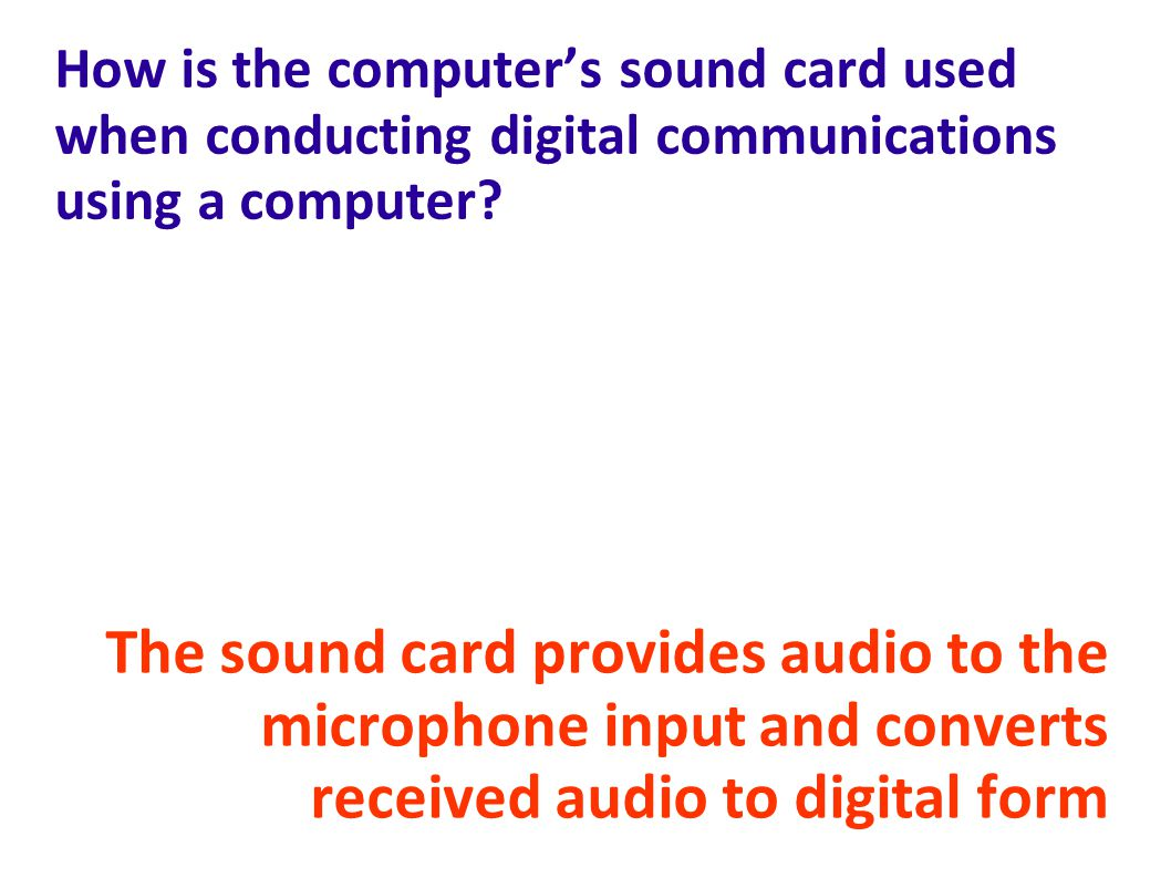 How is the computer's sound card used when conducting digital communications using a computer
