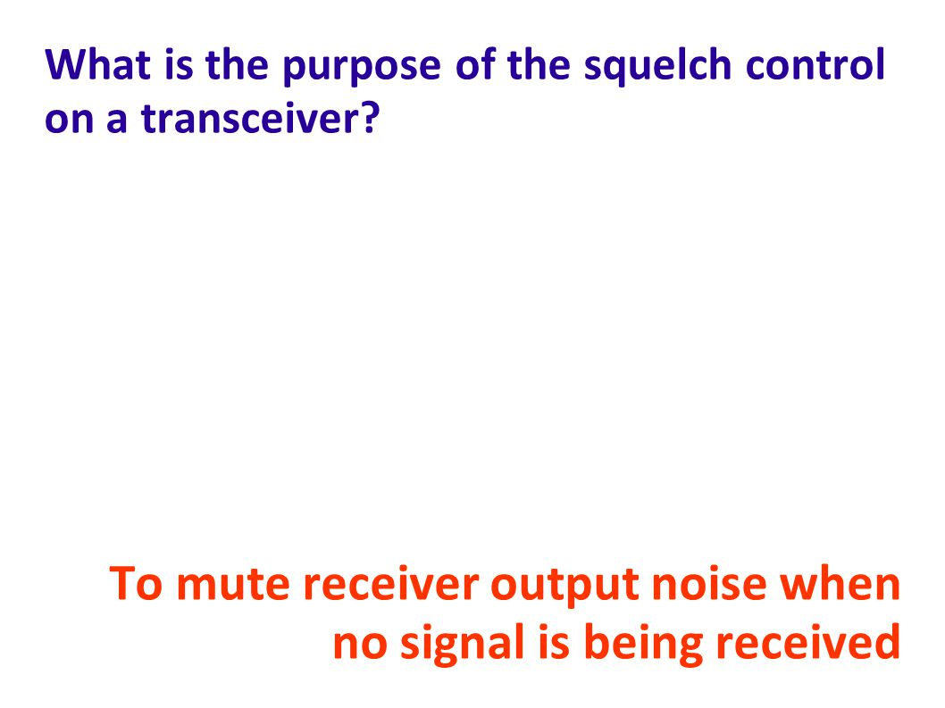 What is the purpose of the squelch control on a transceiver