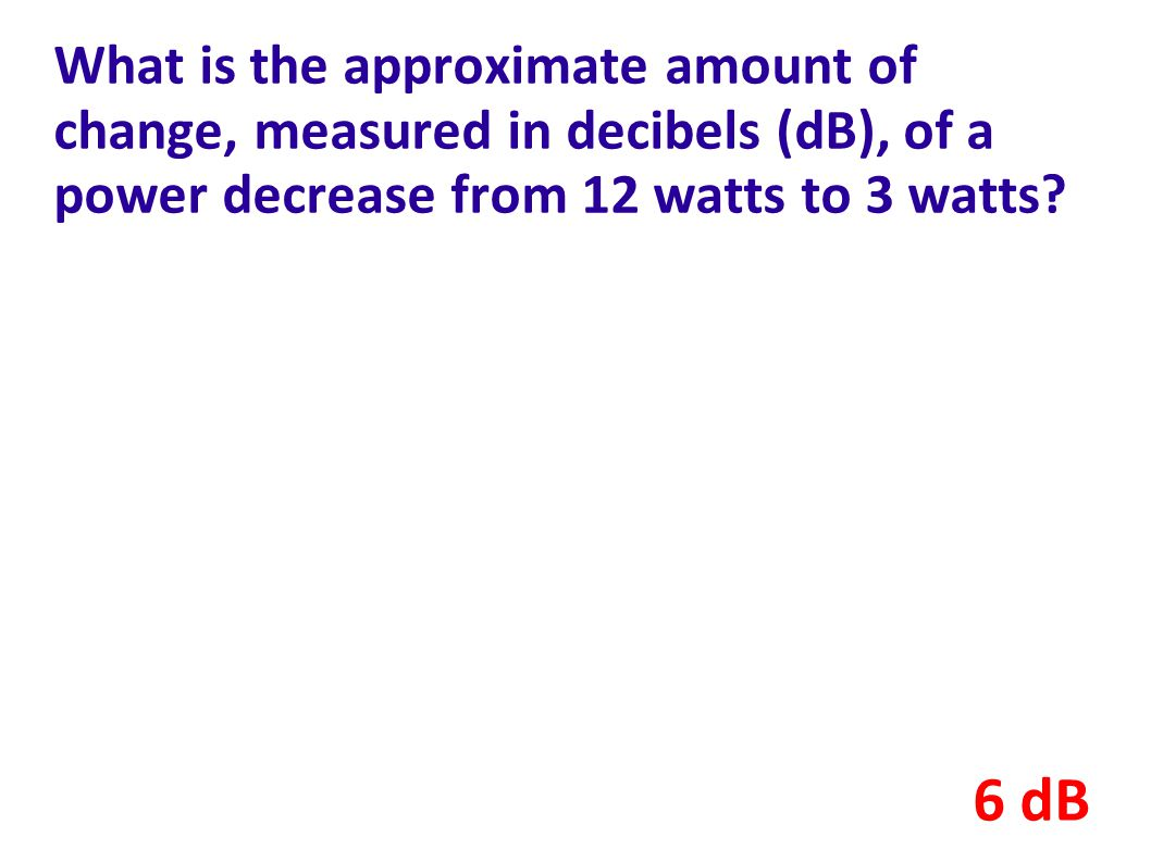 What is the approximate amount of change, measured in decibels (dB), of a power decrease from 12 watts to 3 watts
