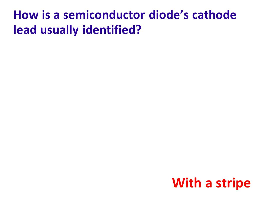 How is a semiconductor diode's cathode lead usually identified