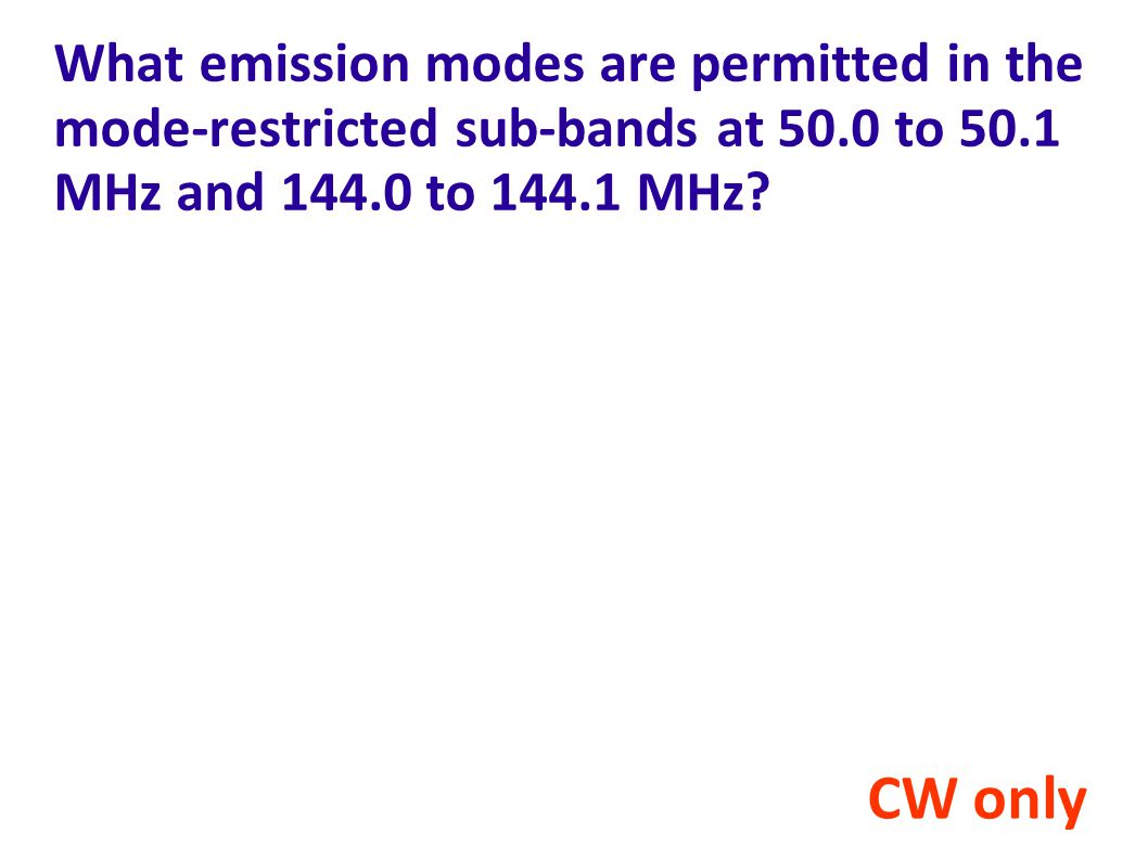 What emission modes are permitted in the mode-restricted sub-bands at 50.0 to 50.1 MHz and 144.0 to 144.1 MHz