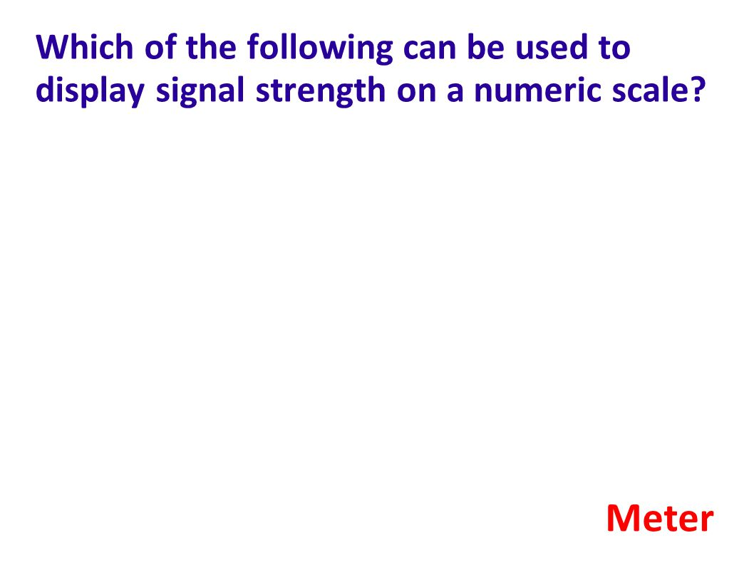 Which of the following can be used to display signal strength on a numeric scale