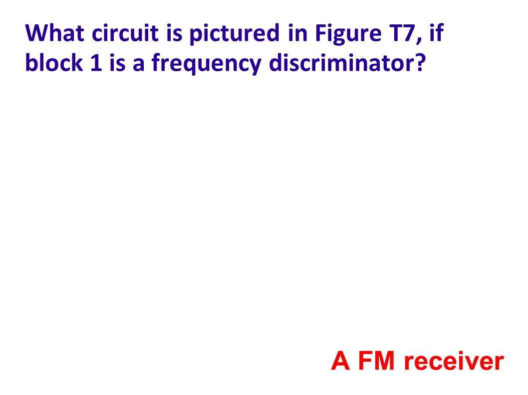 What circuit is pictured in Figure T7, if block 1 is a frequency discriminator