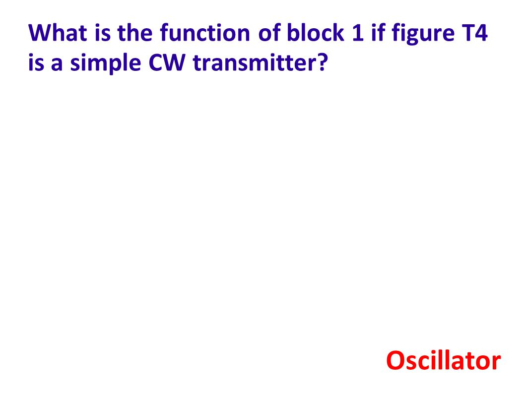 What is the function of block 1 if figure T4 is a simple CW transmitter