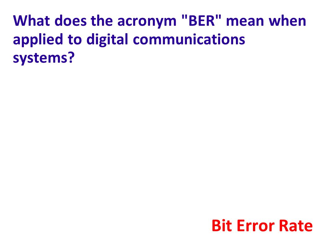 What does the acronym BER mean when applied to digital communications systems