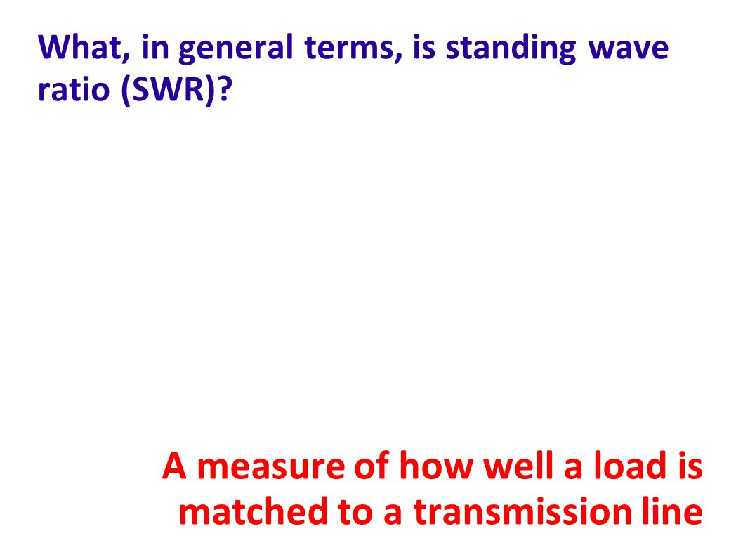 What, in general terms, is standing wave ratio (SWR)