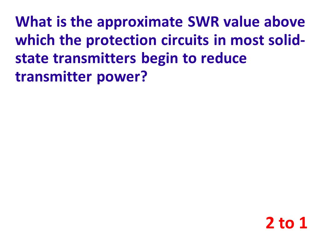 What is the approximate SWR value above which the protection circuits in most solid-state transmitters begin to reduce transmitter power
