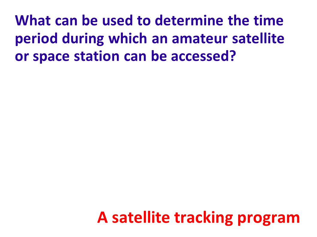 A satellite tracking program