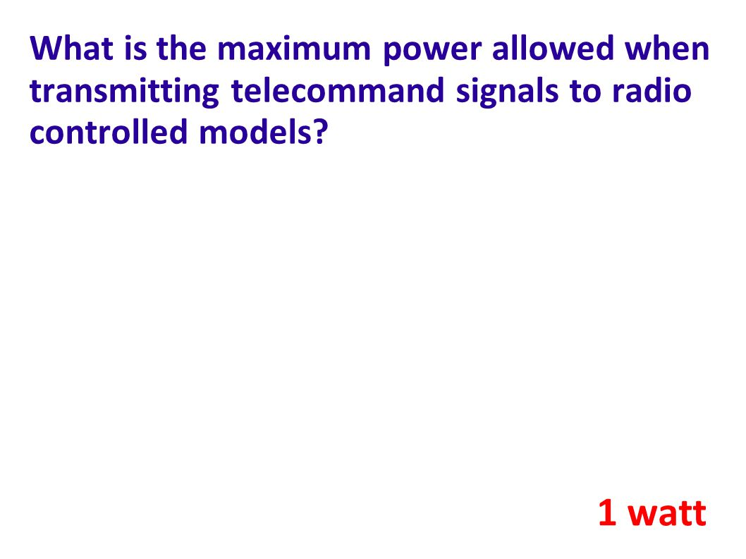 What is the maximum power allowed when transmitting telecommand signals to radio controlled models