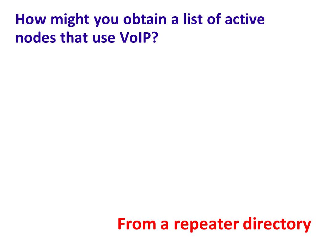 How might you obtain a list of active nodes that use VoIP