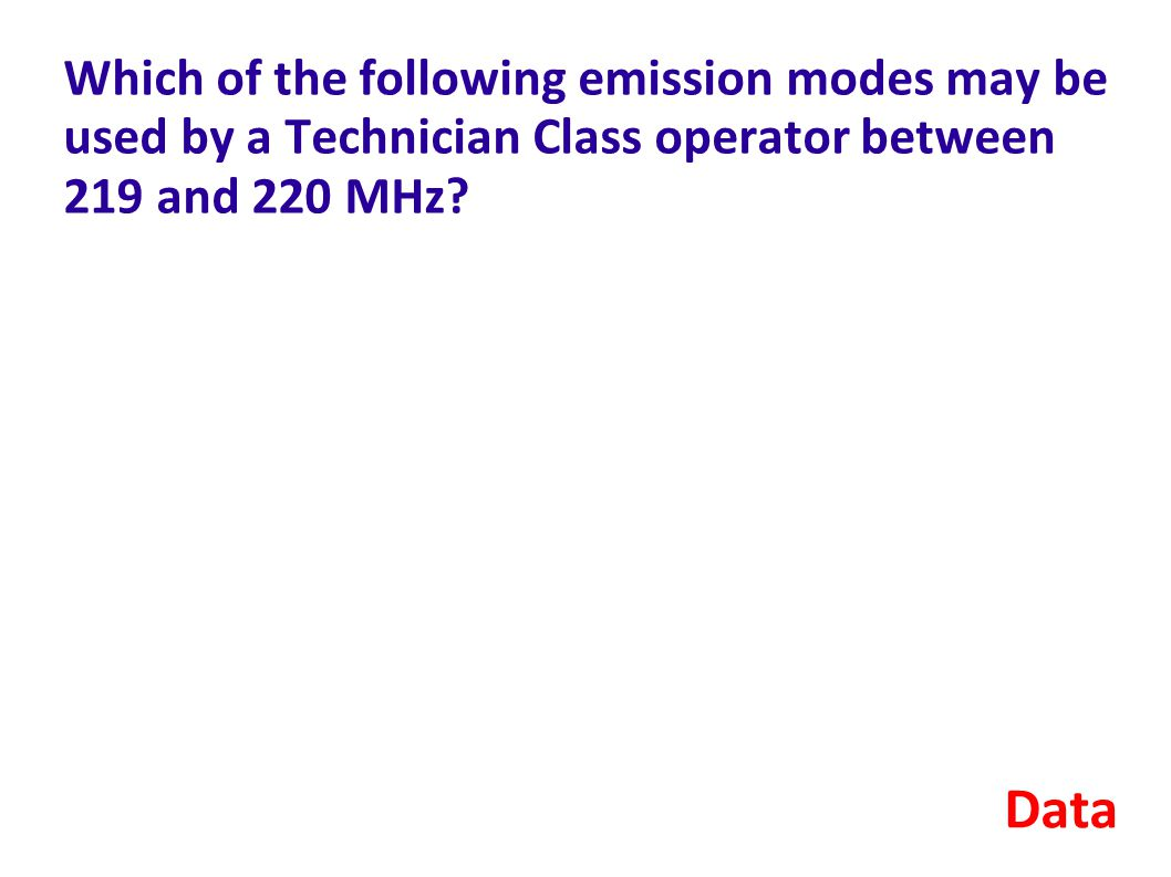 Which of the following emission modes may be used by a Technician Class operator between 219 and 220 MHz