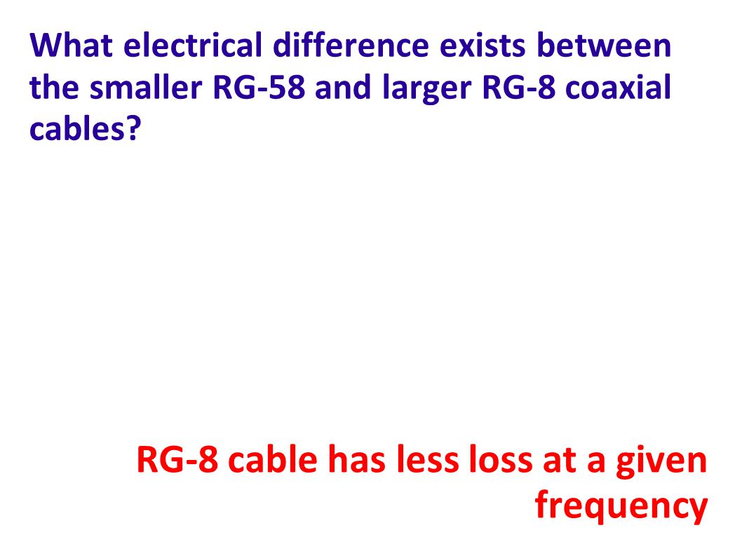 RG-8 cable has less loss at a given frequency