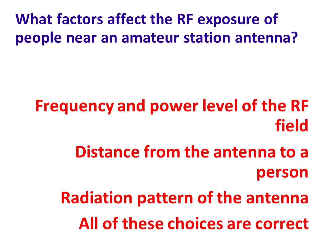 Frequency and power level of the RF field