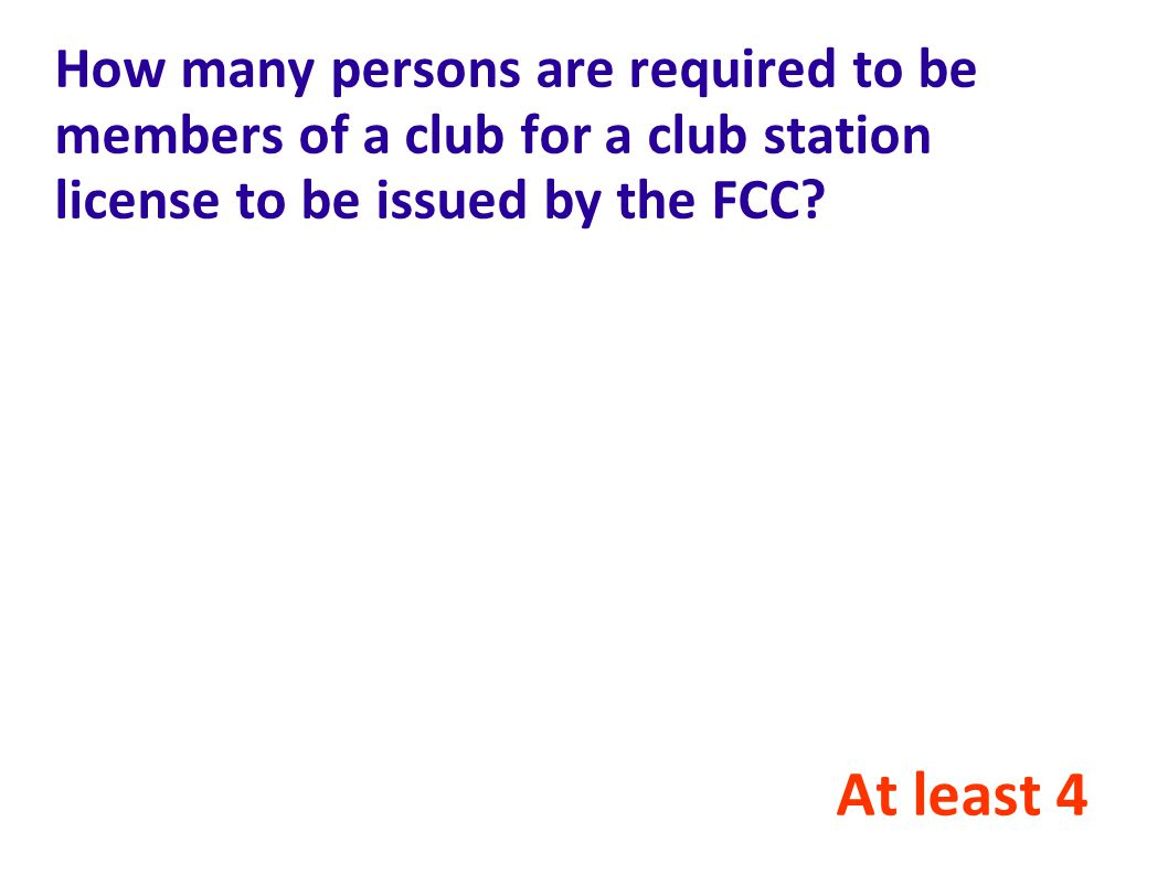 How many persons are required to be members of a club for a club station license to be issued by the FCC