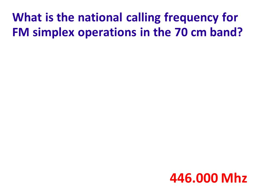 What is the national calling frequency for FM simplex operations in the 70 cm band