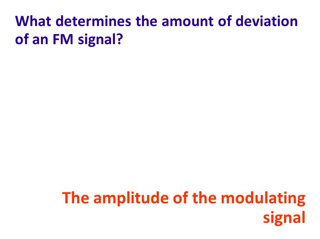What determines the amount of deviation of an FM signal