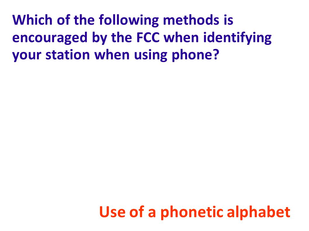 Use of a phonetic alphabet