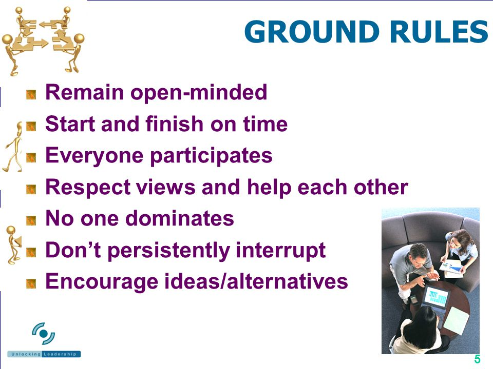 GROUND RULES Remain open-minded Start and finish on time