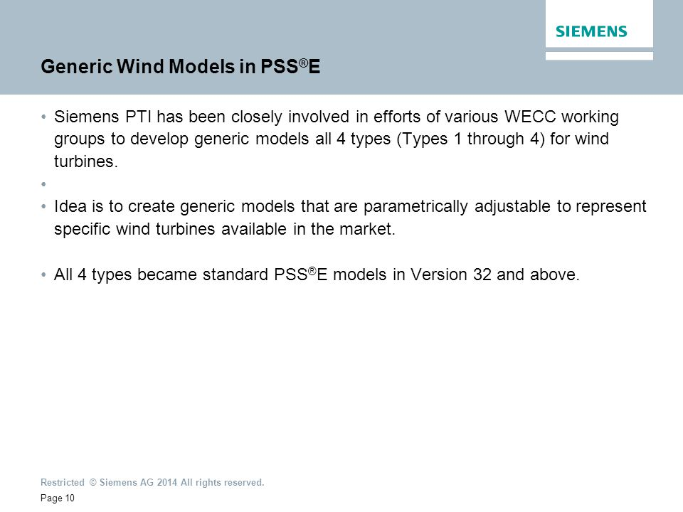 Generic Wind Models in PSS®E
