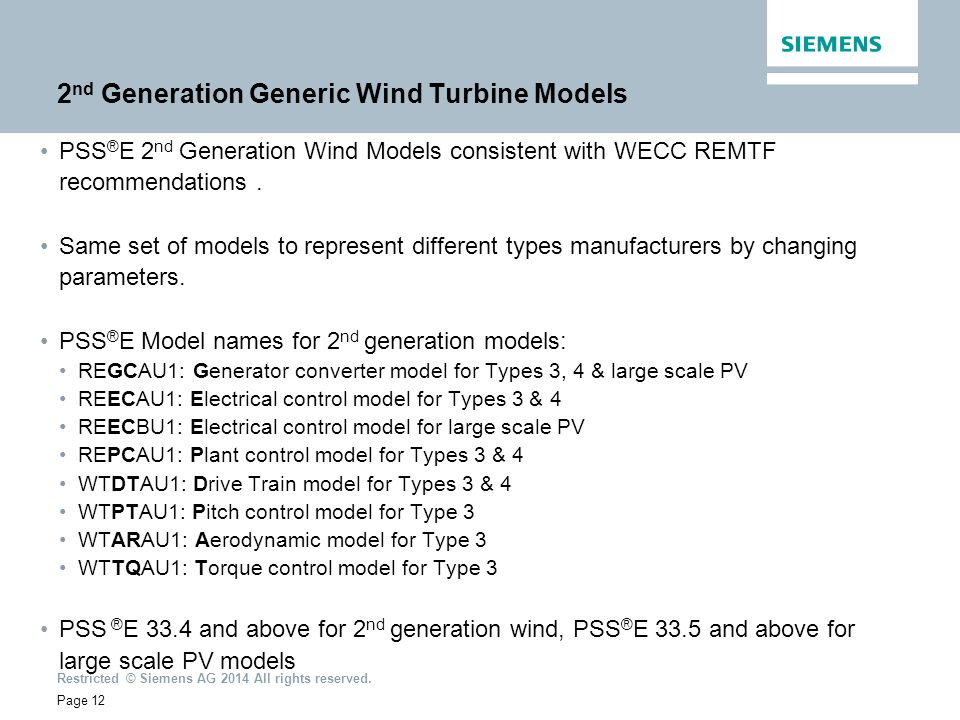 2nd Generation Generic Wind Turbine Models