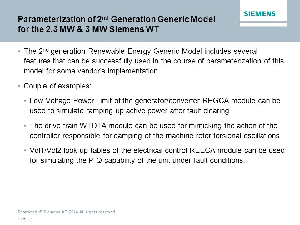 Parameterization of 2nd Generation Generic Model for the 2