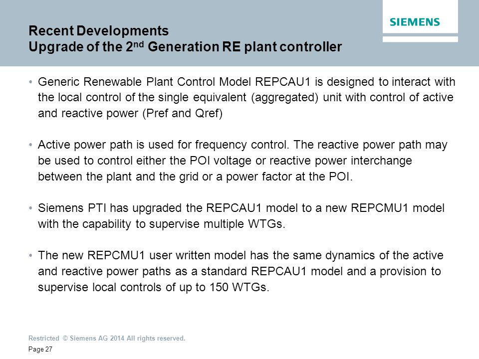 Recent Developments Upgrade of the 2nd Generation RE plant controller