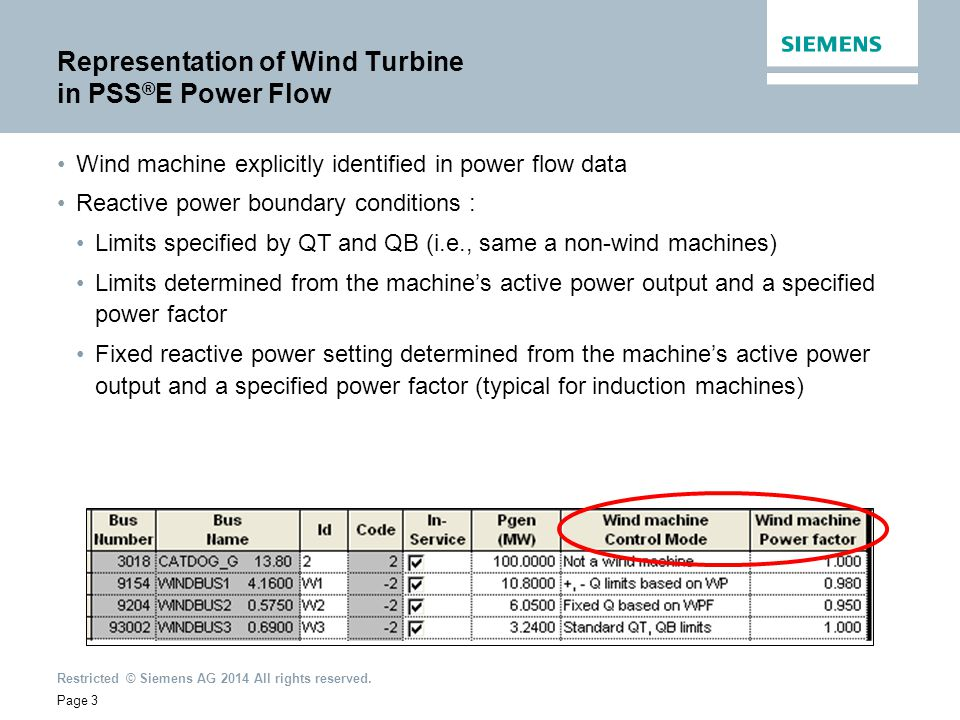 Representation of Wind Turbine in PSS®E Power Flow