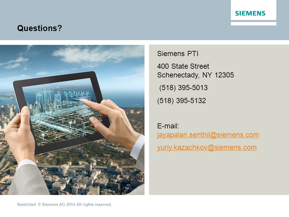 Questions Siemens PTI 400 State Street Schenectady, NY 12305
