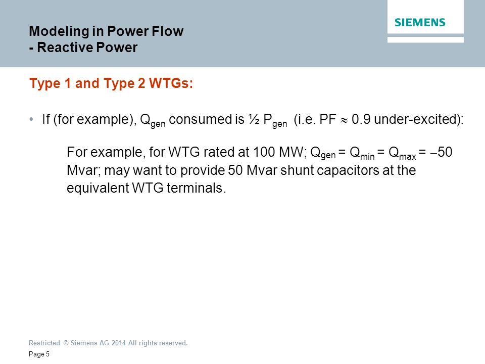 Modeling in Power Flow - Reactive Power