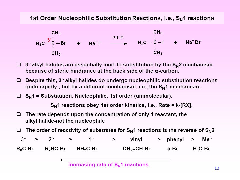 1st Order Nucleophilic Substitution Reactions, i.e., SN1 reactions