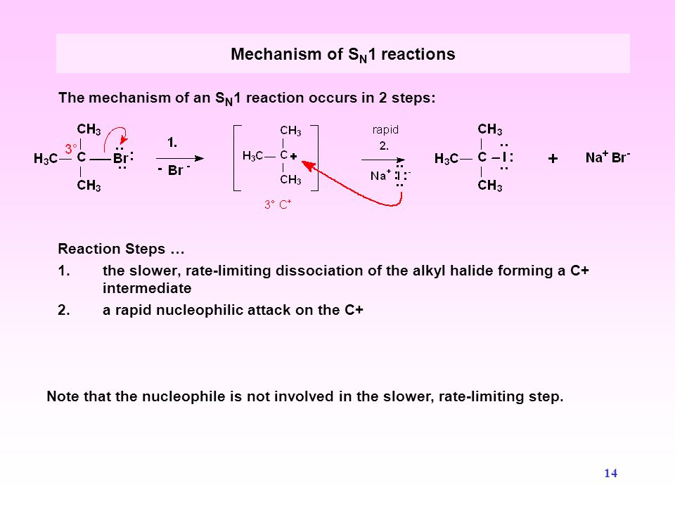 kinetics of an sn1 reaction Substitution reactions, a central part of organic chemistry, provide a model system in physical chemistry to study reaction rates and mechanisms here, the use of inexpensive and readily available commercial conductivity probes coupled with computer data acquisition for the study of the temperature and solvent dependence of the solvolysis of 2-chloro-2-methylpropane is described.