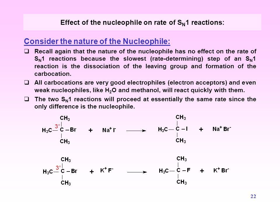 Effect of the nucleophile on rate of SN1 reactions: