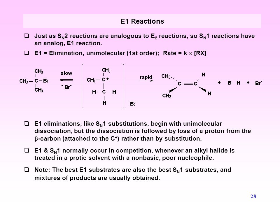 E1 Reactions Just as SN2 reactions are analogous to E2 reactions, so SN1 reactions have an analog, E1 reaction.