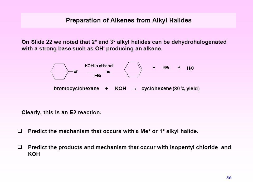 Preparation of Alkenes from Alkyl Halides