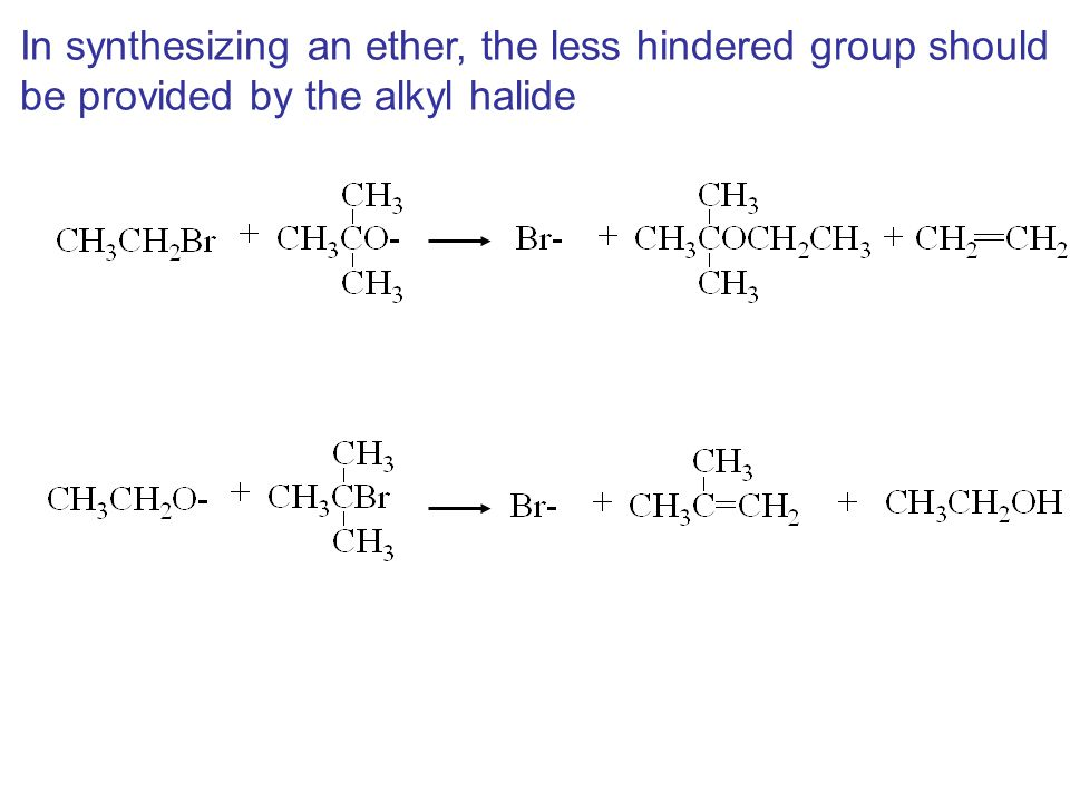 In synthesizing an ether, the less hindered group should
