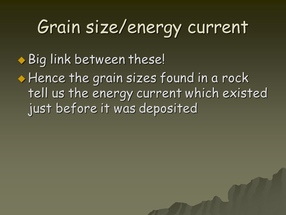 Grain size/energy current