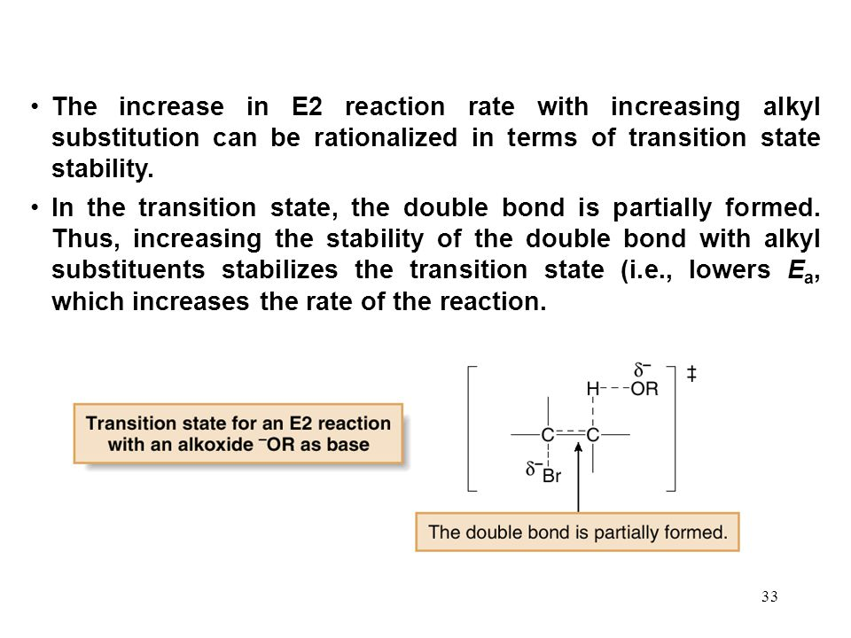 The increase in E2 reaction rate with increasing alkyl substitution can be rationalized in terms of transition state stability.
