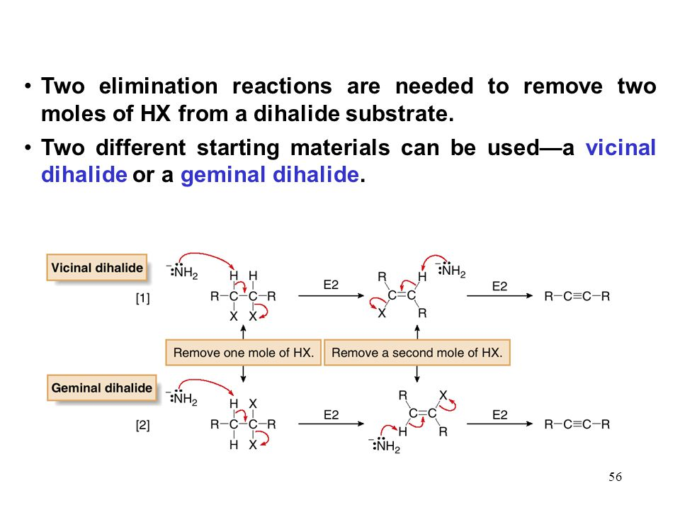 Two elimination reactions are needed to remove two moles of HX from a dihalide substrate.