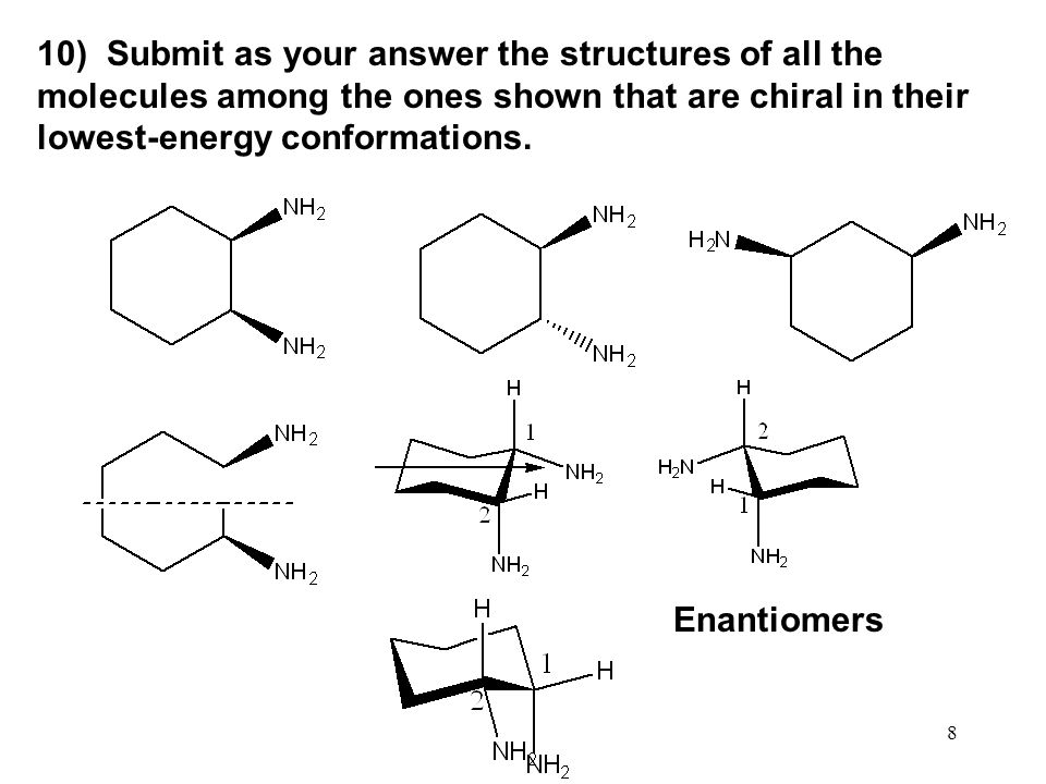 10) Submit as your answer the structures of all the molecules among the ones shown that are chiral in their lowest-energy conformations.