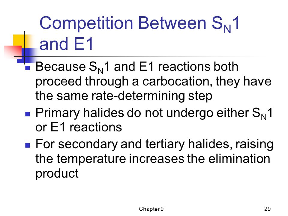 Competition Between SN1 and E1