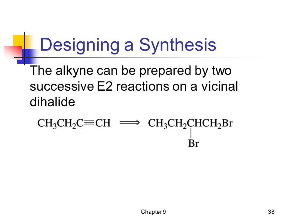 Designing a Synthesis The alkyne can be prepared by two successive E2 reactions on a vicinal dihalide.