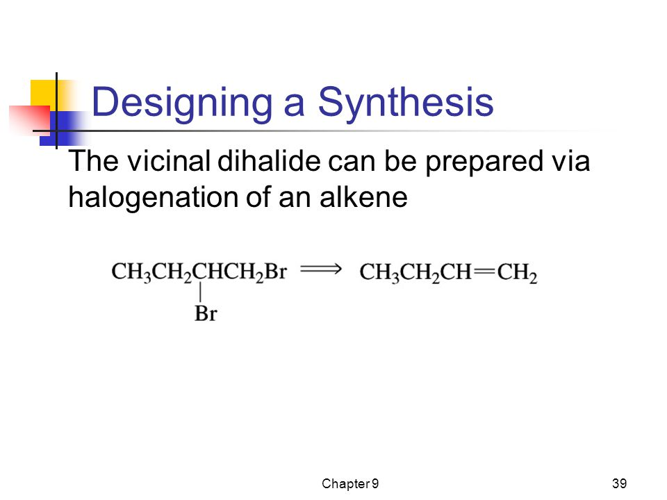 Designing a Synthesis The vicinal dihalide can be prepared via halogenation of an alkene Chapter 9