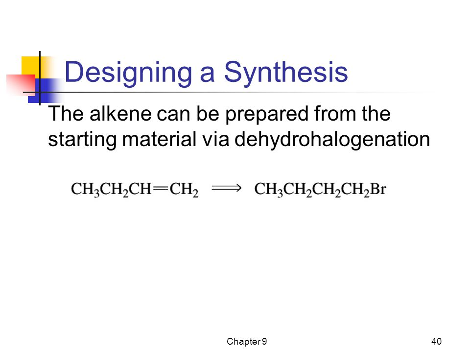 Designing a Synthesis The alkene can be prepared from the starting material via dehydrohalogenation.