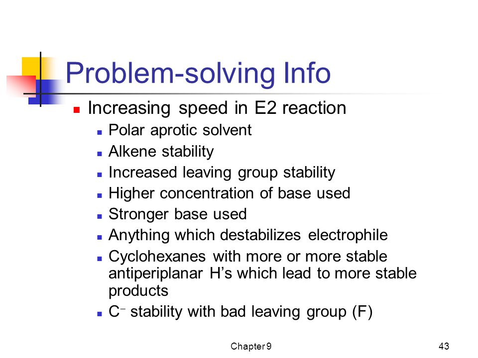 Problem-solving Info Increasing speed in E2 reaction