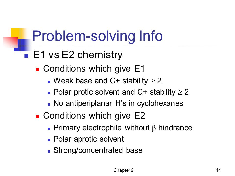 Problem-solving Info E1 vs E2 chemistry Conditions which give E1