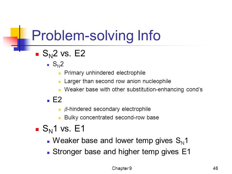 Problem-solving Info SN2 vs. E2 SN1 vs. E1 E2