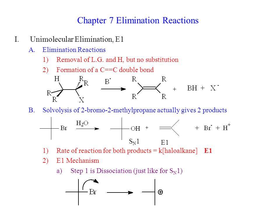 Chapter 7 Elimination Reactions