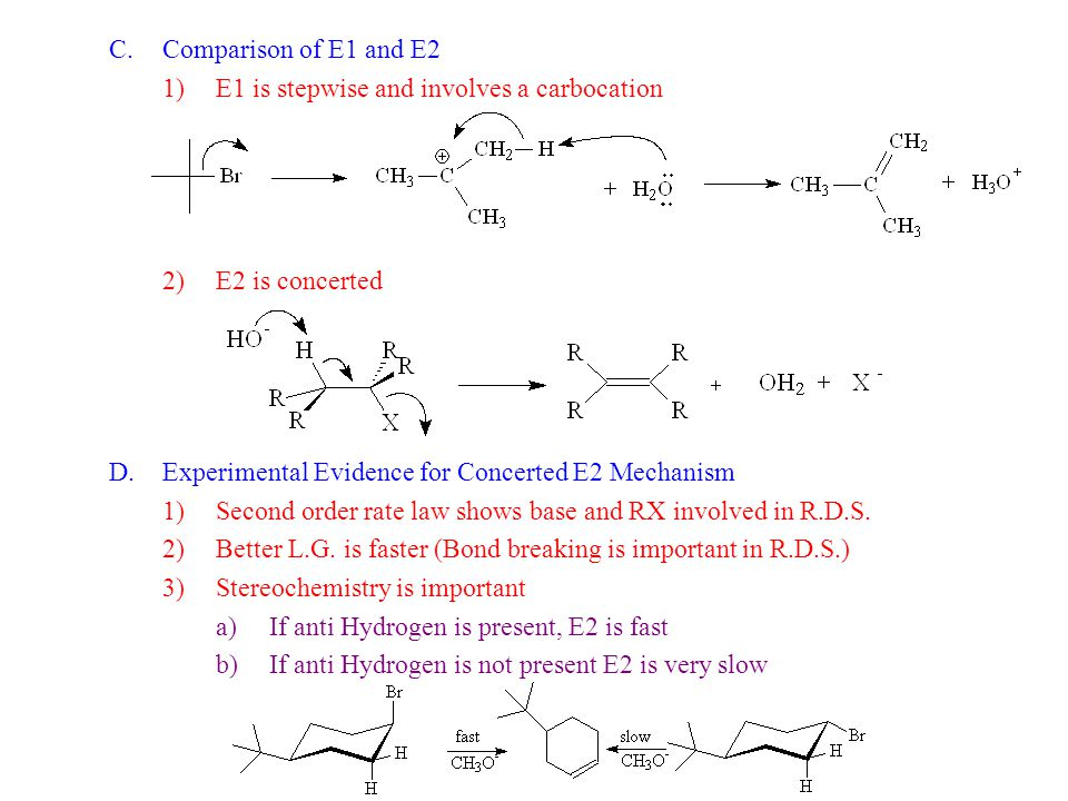Comparison of E1 and E2 E1 is stepwise and involves a carbocation. E2 is concerted. Experimental Evidence for Concerted E2 Mechanism.