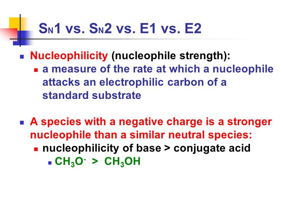 SN1 vs. SN2 vs. E1 vs. E2 Nucleophilicity (nucleophile strength):