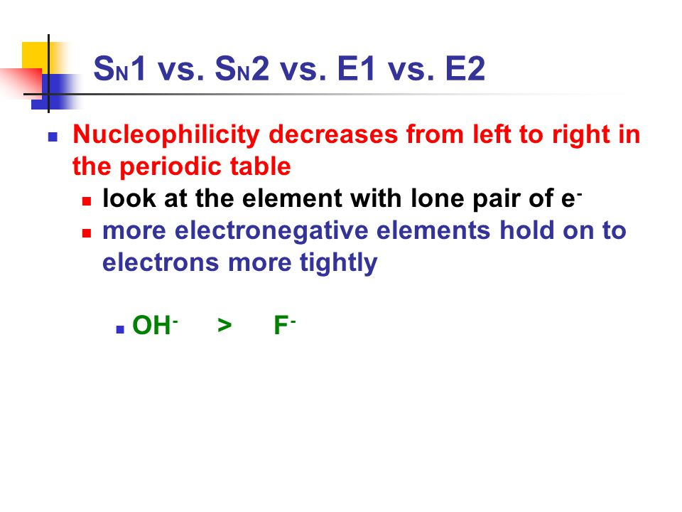 SN1 vs. SN2 vs. E1 vs. E2 Nucleophilicity decreases from left to right in the periodic table. look at the element with lone pair of e-